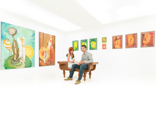 young couple at painting exhibition