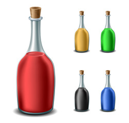Old bottle set with different liquids