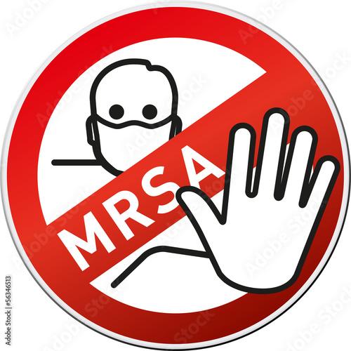 Achtung MRSA Button/Schild