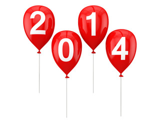 New year 2014 on balloons 3d render