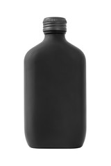 Frosted black glass bottle isolated on white background