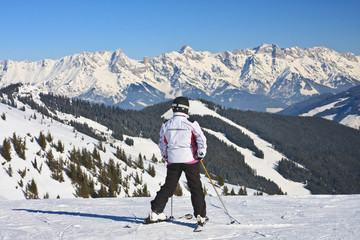 Skier on the slope ski resort  Zell am See, Austrian