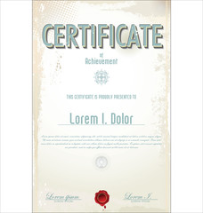 Retro certificate or diploma template, vector illustration