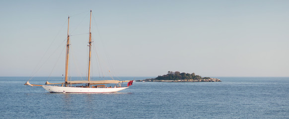 sailing ship and island panorama