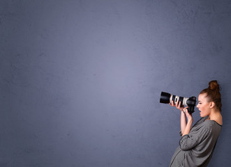 Photographer shooting images with copyspace area