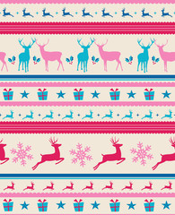 Vintage Christmas reindeers seamless pattern background. EPS10 f