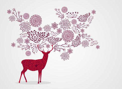 Merry Christmas vintage beautiful reindeer background EPS10 file