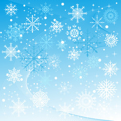 A winter background with snowflakes falling.