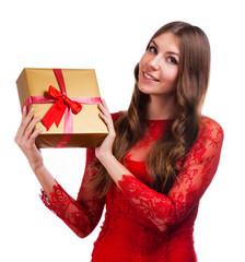Cheerful women with gift box