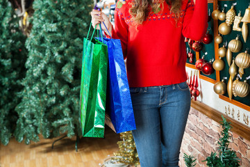 Woman Carrying Shopping Bags At Christmas Store