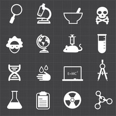 Science education icons and black background