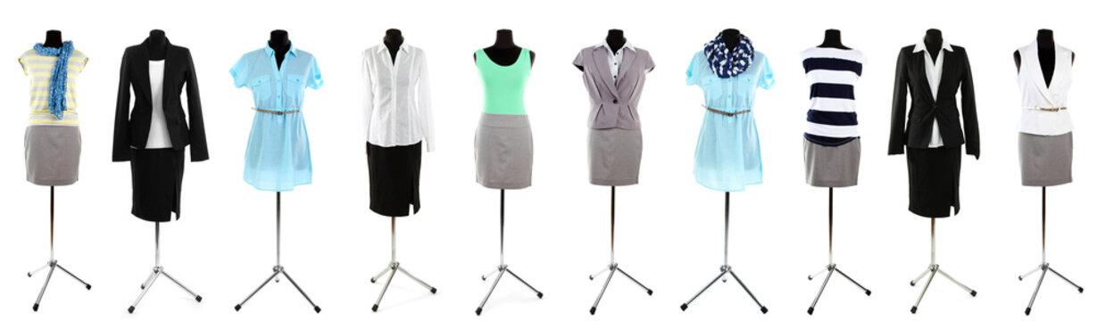 Collage of office clothes on mannequin  isolated on white