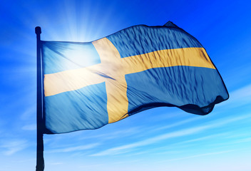 Sweden flag waving on the wind