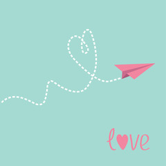 Origami paper plane. Dash heart in the sky. Love card.