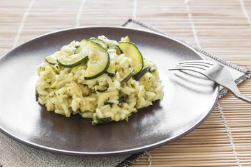 risotto with zucchini, italian food recipe