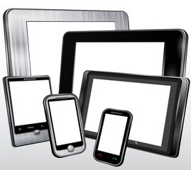 Set, tablet, mobile phone, in the plastic and metal case. Vector