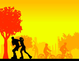 People in park in different sports activities silhouette layered