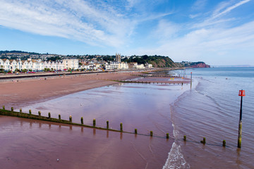 Fototapete - Teignmouth Devon beach and town