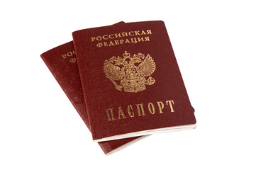 Two Russian passports isolated on white with clipping path