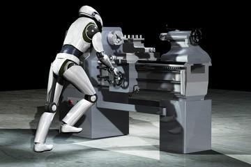 Roboter arbeitet an einer Drehmaschine