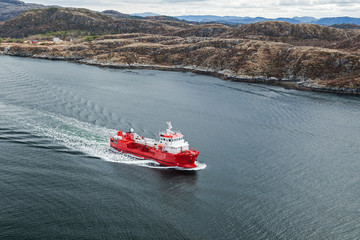 Small Norwegian red oil products tanker
