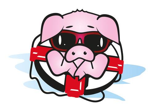 Schwein im Rettungsring