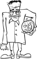 frankenstein cartoon for coloring book