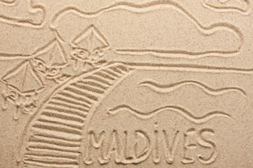 Maldives handwritten from  sand