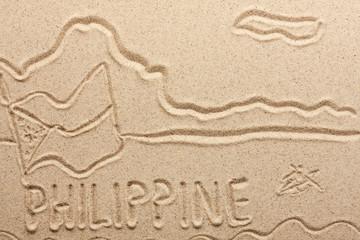 Philippines handwritten from  sand