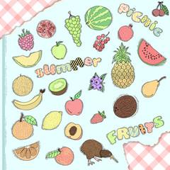 Set of hand drawn fruits