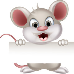 funny mouse cartoon holding blank sign