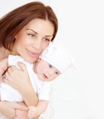 Newborn healthy infant with mom