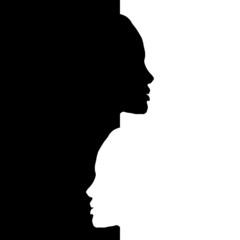 Vector head silhouettes