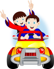 Children riding in the car