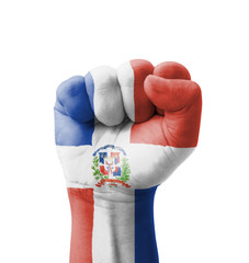 Fist of Dominican Republic flag painted, multi purpose concept