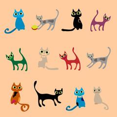 Cats. Vector set in gentle tones.