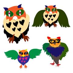 Owls. Vector.