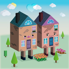Houses in love vector 3D graphic illustration