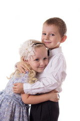 Sweet brother and sister hugging