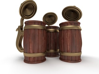 three toby jugs isolated on white