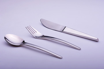 Stanless steel cutlery set spoon fork and knife isolate