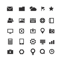 Collection of simple web icons isolated on white