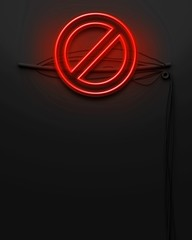 Neon glowing signboard with sign ban, copyspace