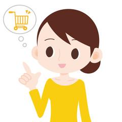 女性 ネットショッピング 買い物カート