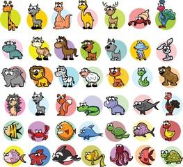 Набор мультфильм животных вектор