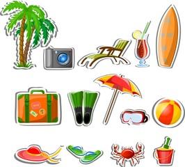 Путешествие икон, пальмы, мяч, гостиная, зонтик, ласты и чемодан