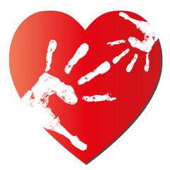 Mother and child hands over a red heart