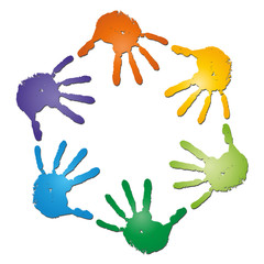 Conceptual  spiral made of painted human hands