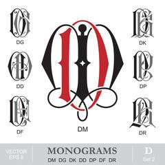 Vintage Monograms DM DG DK DD DP DF DR