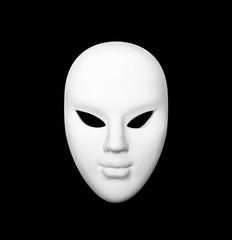 White carnival mask on black isolated background
